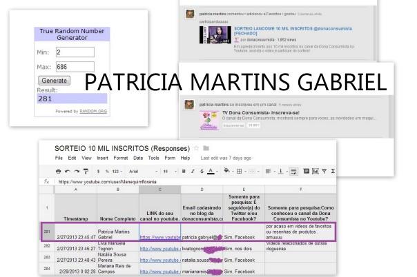 Sorteio Lancôme 10 mil inscritos 2- Patricia Martins Gabriel